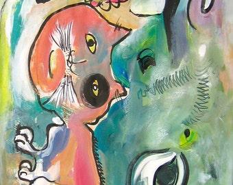 "orangecat abstract painting original by sjkim, orange cat acrylic ink art size 46""x17"" by skim, cat art, cat painting,  orange blue green"
