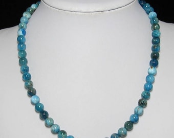 Apatite 8mm and 925 Silver 19 inch Necklace
