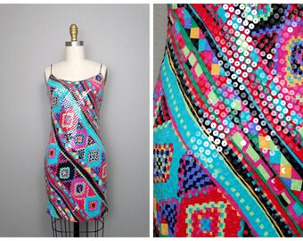 90's Sequin Trophy Dress // Abstract Sequined Mini Dress // Vintage Party Dress Small