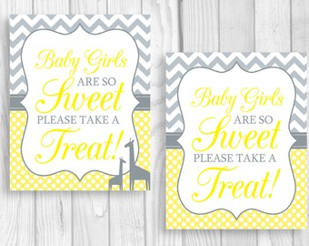 SALE Baby Girls Are So Sweet Please Take A Treat 8x10 Printable Baby Shower Dessert Sign in Yellow and Gray Polka Dots - Giraffes Optional