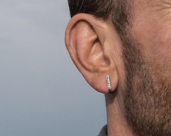 Hoop earrings-Sterling silver hammered J wrap- antiqued