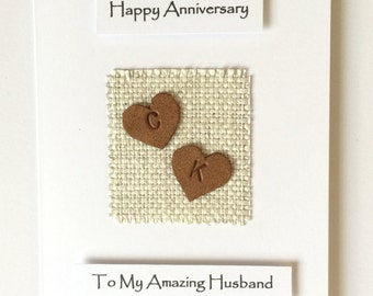 3rd Wedding Anniversary Card 4th Wedding Anniversary Card Leather Hearts Hand Stamped Personalised Initials Linen Husband Wife Him Her