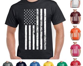 Black and White Vintage USA Flag Men's Fashion Patriotic T-Shirt
