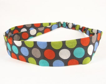 """Fabric Headband - Diddly Dot - Pick your size - fit toddlers to adults - 1-1/2"""" wide"""