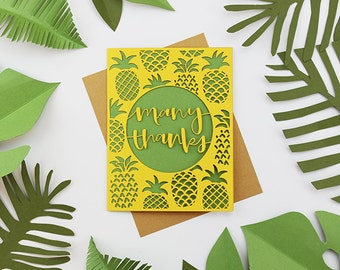 Thank You Pineapple Tropical Laser Cut Card