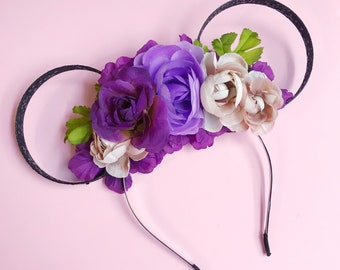 Purple Flower Crown and Black Glitter Mouse Ears Headband