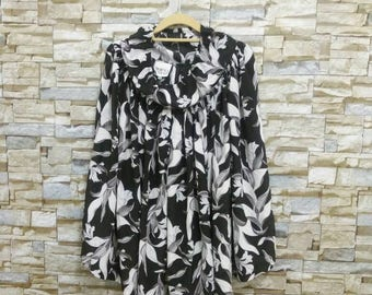 Vintage Norma Kamali Skirt Black and White Floral Print Silk Midi Skirt Medium