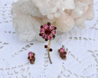 Pink and Red Rhinestone Pin and Earring Set