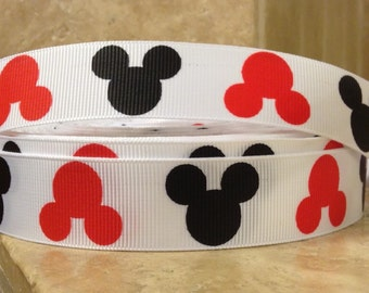 5 YDS Red and Black Mickey Mouse Heads Ribbon