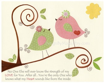 Baby room wall art, girl nursery print Art, Love birds...No One else..pink and green, sage and pale pink