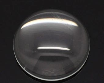 10 cabochon 8 mm round transparent glass