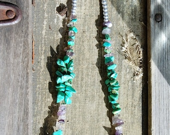 """Amethyst and green turquoise necklace 18"""""""