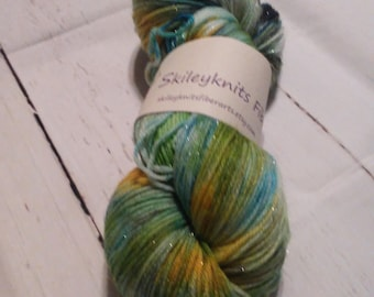 Hand Dyed Sock Yarn-Shimmer-Hulky Claus