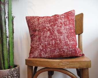 Red pillow cover, deconstructed red velvet, minimalistic, rustic boho