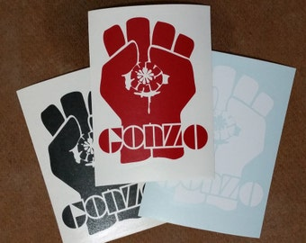 Gonzo Fist Vinyl Decal for Car Windows and Laptops