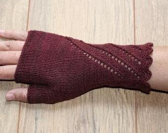 Merino Silk Fingerless Gloves - Mittens - Deep Cherry Red