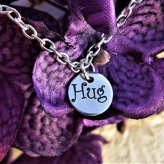 LDS Jewelry for Young Women Daughter, Hug Charm Necklace, Gift for Mom Grandma, Relief Society VT or YW Gift, Mother's Day Birthday Gift
