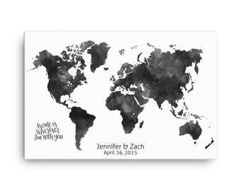 Custom Wedding Guest Book, Personalize Guest Book, World Map Guest Book, Wedding Guest Book Idea, Bride and Groom, Watercolor, Alternative