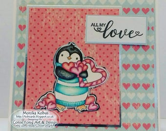 Greeting card, handmade card, Anniversary card, Valentine's card, card with penguin