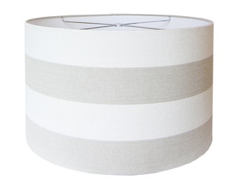 Custom Lamp Shade - Striped Lampshade - Fabric Lampshades - Covington Riley in Linen Wide Stripe Beige - Made to Order