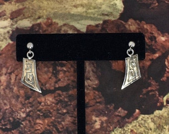 Native American Hopi 14K and Sterling Silver Earrings