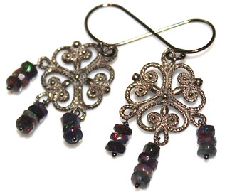 Black Ethiopian Opal Chandelier Earring Black Opal Earring Opal Jewelry Black Gold Filigree Earring Black Earring Ornate Earring Scrolls