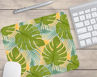 Green Leaf Mouse Pad, Tropical Mouse Pad, Pattern Mouse Pad (0037)