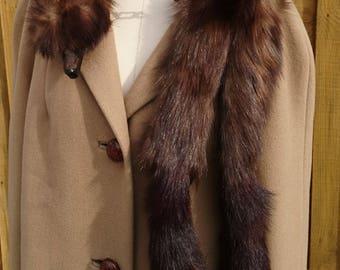 Vintage 30's fur tippet, brown marten with bakelite clip