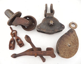 Lot Vintage Pulleys Iron Caster Wheel Found Object Industrial Steampunk Assemblage Supply
