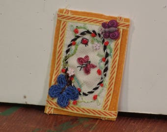ATC Blue butterfly hand embroidered