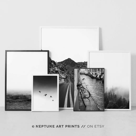 Black white print set photography set modern printable wall