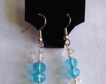 Turquiose & Clear Swarovski Dangle Earrings