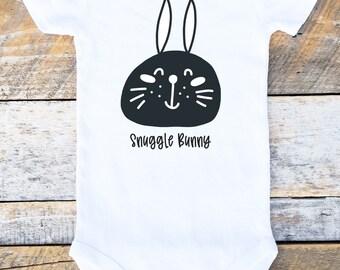 Snuggle Bunny Easter Onesie, Easter Onesies®, Bunny Onesie, Easter Boy Onesie, Black and White Onesie, Easter Bodysuit, Baby Boy, Bunny