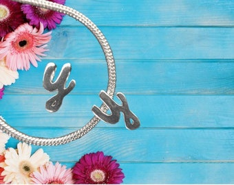 Lowercase 'y' Sterling Silver Charm Necklace With Gift Box