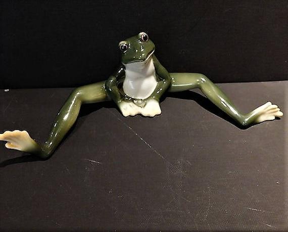 Franz Porcelain Frog Collection Amphibia Frog Sitting Long Legged Figurine Amphibian Vintage Cottage Farmhouse Home Decor Wildlife Nature