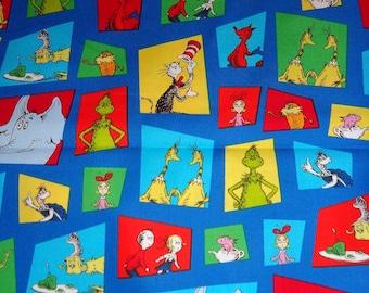 Blue Dr Seuss Portrait Toss Cotton Fabric by the Yard