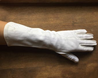 Long Vintage White Gloves - Church Gloves - Wedding Gloves - Evening Gloves - Formal Wear - 70s Fashion - Japan - Cotton Gloves