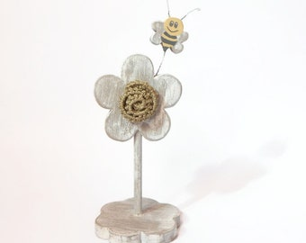 Wooden decoration, flower and bee in wood-gift idea-Wooden furniture