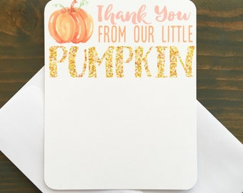 12 pumpkin thank you cards with envelopes, pumpkin first birthday party thank yous, gold glitter birthday thank you note