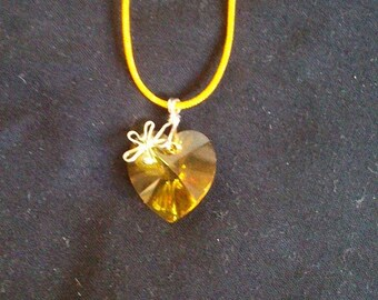 Heart and flower swarovski crystal sunflower and Silver 925 pendant