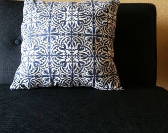 Beautiful Navy Blue And White  Printed Decorative  Pillow