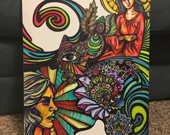 DAYDREAM original sharpie drawing,psychedelic artwork,visionary drawing,mary magdalene trippy ink wall art,zentangle freehand rainbow prayer