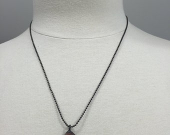 Oxidized ball chain necklace with soldered druzy charm