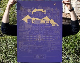 Athens City Silkscreen Poster Print Limited on Lavender Skin Curious Paper