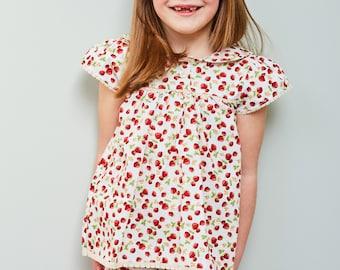 Girls Summer Pyjamas - In strawberry fabric
