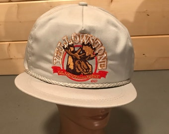 Vintage 1990's Colorful Semi  Leather Strap Yellowstone Trucker Hat