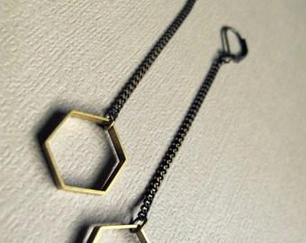 Minimalist Earrings - Hexagon Geometric Earrings - Minimalist Jewelry - Geometric Dangle Earrings - Hexagon Earrings - Geometric Jewelry