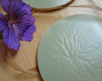 SALE Ceramic Coasters, set of 2, Handmade, round, nature inspired, hand carved, mint green, pastel, celadon, home decor, glazed Stoneware