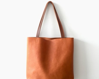 SALE 20% OFF - camel Brown Leather Tote Bag -  Brown Leather Bag - Leather Market bag with cross body strap- Sale