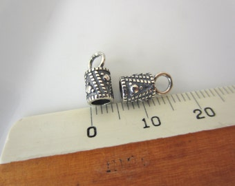Subtle Triangle Design--Pair Sterling Silver End Caps for Cord, 3mm inside diameter